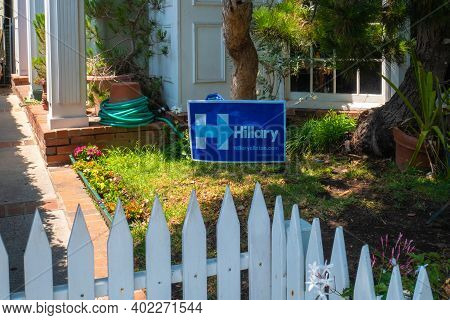 Venice Beach, Usa - June 25, 2016: View Of Hillary Clinton's Campaign Sign In Home Garden On Venice