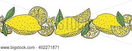 Seamless Brush, Pattern Of Lemon Fruit, Isolated. Hand Drawing Of Whole Lemon, Slice, Quarter And Le