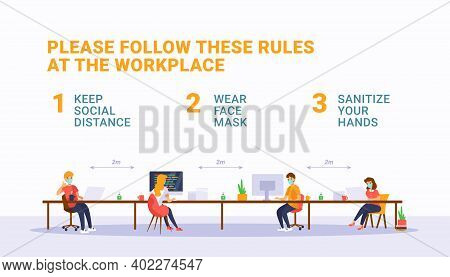 Safety Rules At Workspace During Pandemic Covid-19. New Normal Office Concept. White Background