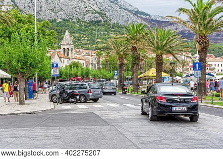 Makarska Riviera, Croatia - 1 July, 2017: Streets Of The Resort Town Of Makarska. Makarska, One Of T