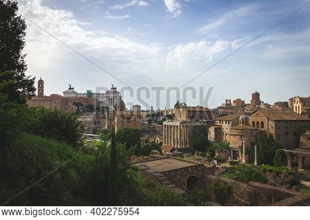 A Landscape Shot Of The Ancient Part Of The City Of Rome In Italy. The View Is Of A Part Of The Foru