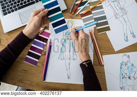 Fashion Designer Creative Design Sketch. Style And Creativity