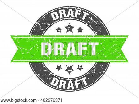 Draft Round Stamp With Green Ribbon. Draft