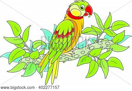 Amusing Colorful Parrot Perched On A Green Tree Branch In A Tropical Jungle, Vector Cartoon Illustra