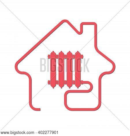 Heat Supply, Utility Icon. Vector Stock Illustration, Flat Style