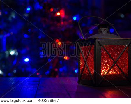 Lantern With Christmas Tree, Christmas Decor. Greeting Card.