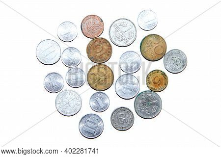 Old, Invalid Coins From Germany  Isolated On A White Background.