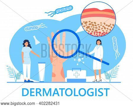 Dermatologist Concept Vector For Medical Websites And Landing Pages, Blog. Disease Of The Skin And D