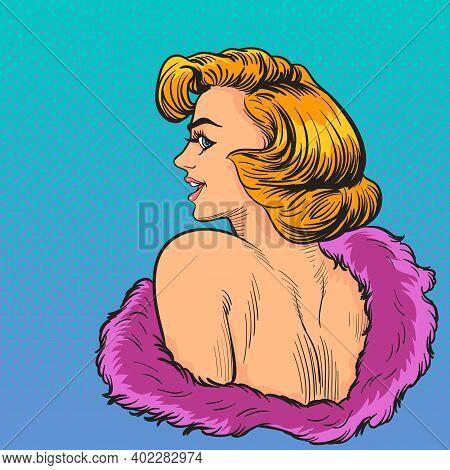 Elegance Pop Art Woman Wow Face Look Back.pop Art Retro Comic Book Cartoon Drawing Vector Illustrati