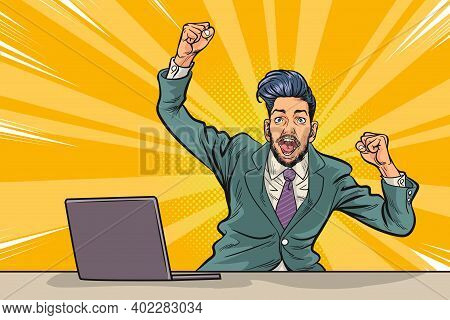 Businessman Scared Work On Laptop Computer,happy Time Of Businessman In Hard Working Cartoon Backgro