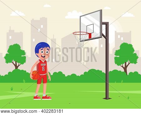 Amateur Basketball In The Backyard. Athlete In Uniform With A Ball. Flat Vector Character Illustrati