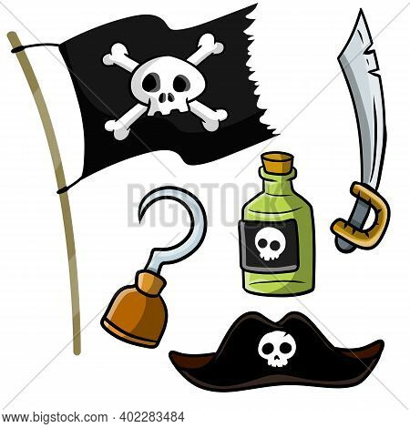 Pirate Set Of Items - Captain Hat, Bottle Of Rum, Sword, Pirate With Jolly Roger, Skull And Bones, H