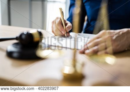 Legal Contract Document Arbitration And Justice Decision