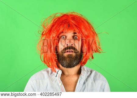 Portrait Of Surprised Man. Emotions. Surprised Man In Wig. Surprised Bearded Man. Isolated. Color Wi