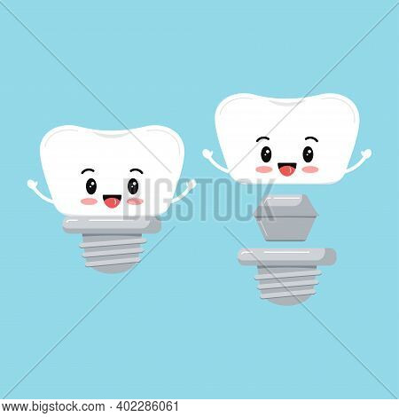 Cute Dental Implant Tooth With Hand Icon Set Isolated On Blue Background. Sweet Smilling Teeth Prost