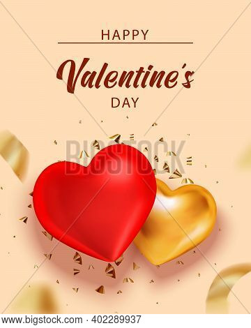 Valentine Background With Heart And Gold Serpentine For Banner Design. Holiday Gift Box. Greeting Ca