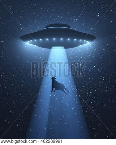 Unidentified Flying Object Flying At Night And Levitating A Cow With The Tractor Beam. 3d Illustrati