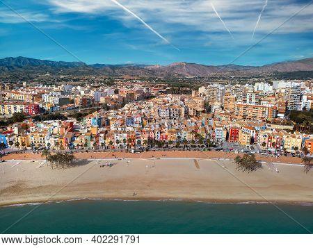 Aerial Drone Point Panoramic View Coastline And La Vila Joiosa Villajoyosa Touristic Resort Townscap