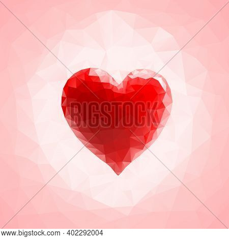 Red Triangular Heart On An Abstract Triangular Pink Background. Vector Illustration.