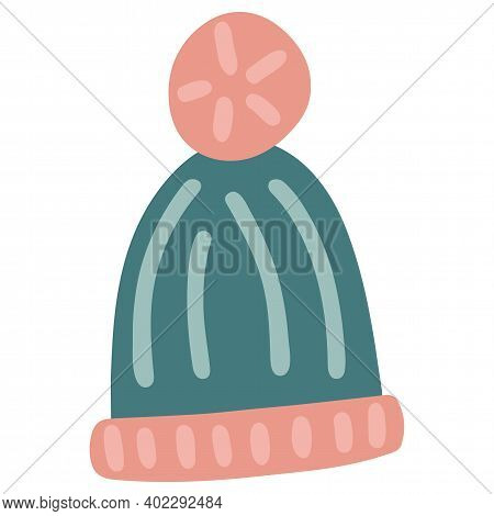 Warm Winter Knitted Hat With An Ornament And A Pompom. Hand-drawn Vector Illustration. Pink, Blue Co