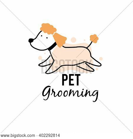 Cute Puppy Dog Pet Grooming. Cartoon Dog Character Illustration For Animal Hair Grooming Salon Logo,