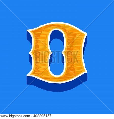 D Letter Embroidered Logo In Classic Collegiate Or Sports Style. Retro Font Perfect To Use In Any Un