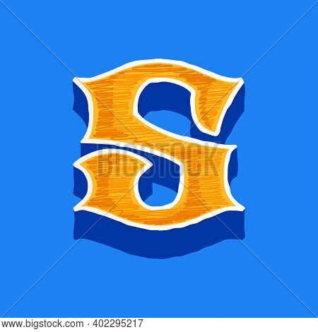 S Letter Embroidered Logo In Classic Collegiate Or Sports Style. Retro Font Perfect To Use In Any Un