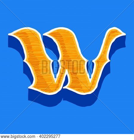W Letter Embroidered Logo In Classic Collegiate Or Sports Style. Retro Font Perfect To Use In Any Un