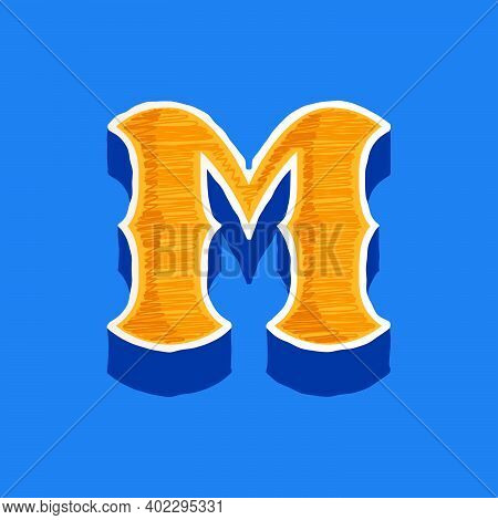 M Letter Embroidered Logo In Classic Collegiate Or Sports Style. Retro Font Perfect To Use In Any Un