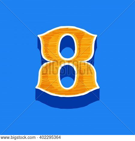 Number Eight Embroidered Logo In Classic Collegiate Or Sports Style. Retro Font Perfect To Use In An