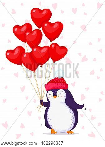 Greeting Card For Valentine Day With A Cute Penguin In A Knitted Hat. Cartoon Penguin With Balloons-