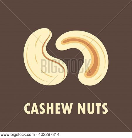 Peeled Cashew Nuts Whole And Slice Isolated On Brown Background, Simple Flat Design