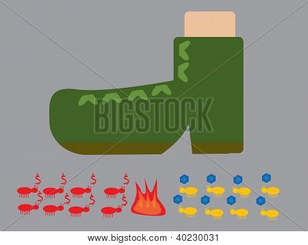 Vector of ant war under soldier boot poster