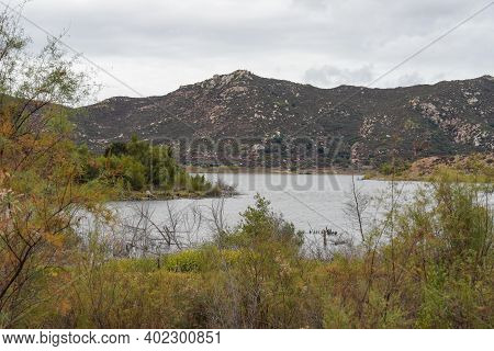 Inland Lake Hodges And Bernardo Mountain, Great Hiking Trail And Water Activity In East San Diego Co