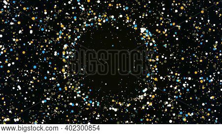 Shining Round Shaped Particles Creating A Central Circle. Animation. Clood Of Chaotically Moving Cir