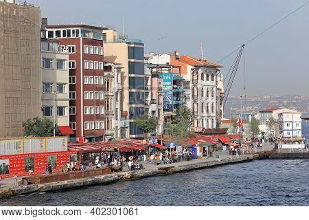 Istanbul, Turkey - October 06, 2020. Rihitim Caddesi Embankment As Seen From Galata Bridge. Karakoy