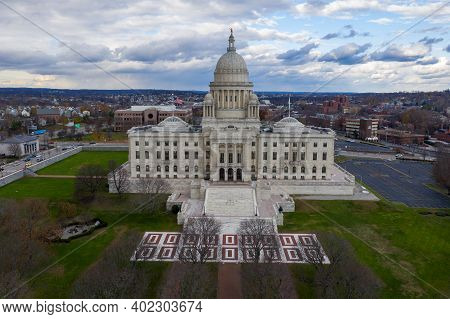 The State Capitol Building In Downtown Providence, Rhode Island.