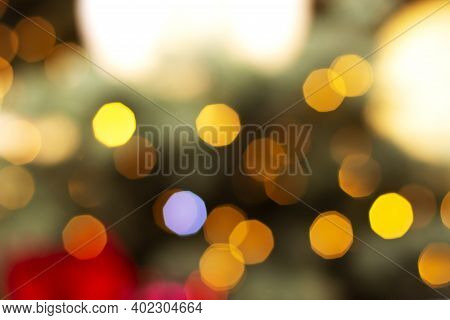 Defocused Christmas And New Year Bokeh Lights, Large Abstract Blurred Bokeh, Multicolored Bright Gar
