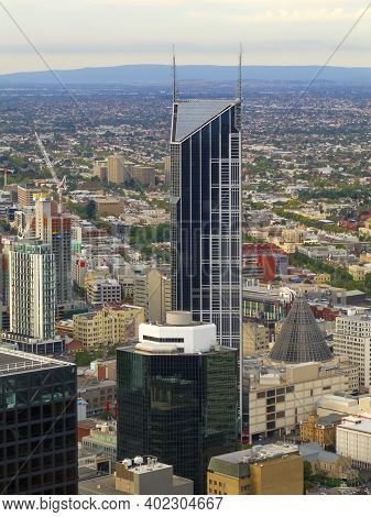 Aerial View Of The Melbourne Central Tower In The Central Business District Of Melbourne, Australia