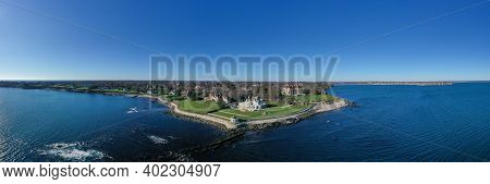 Newport, Ri - Nov 29, 2020: The Breakers And Cliff Walk Aerial View. The Breakers Is A Vanderbilt Ma