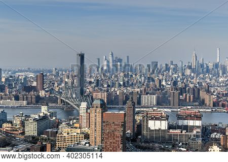 Panoramic View Of The New York City Skyline From Downtown Brooklyn.