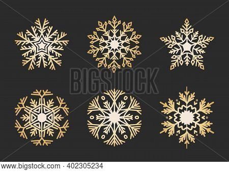 Golden Snowflakes Set. Elegant Christmas Snow Crystal Collection In Flat Style. Isolated Ornament, N
