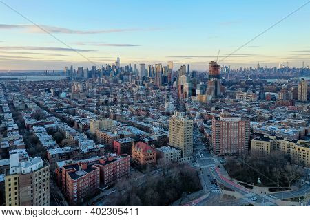 Aerial View Of The Manhattan And Brooklyn Skyline From Prospect Heights, Brooklyn.