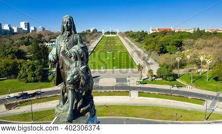 Drone Photo Of Marques Do Pombal Square And Eduardo Vii Park, Lisbon, Portugal