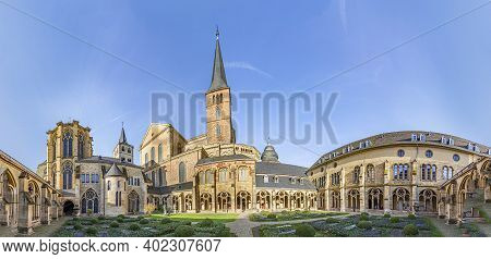 Trier, Germany - November 7, 2020: Scenic Garden And Cemetery Of The Monastery And The Cathedral In