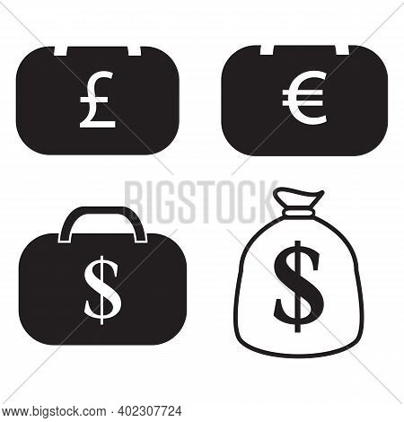Currency Icon. Isolated Icons Or Signs. Dollar Yuan Euro Pound Publes Signs Or Symbols. Finance, Bus