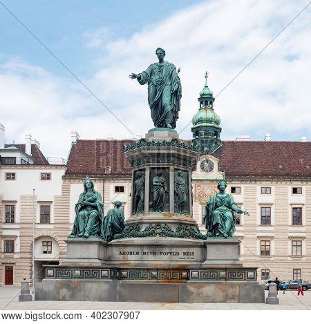 Vienna, Austria - July 31, 2019: Monument To Austrian Emperor Franz I On Amalienburg Background, In