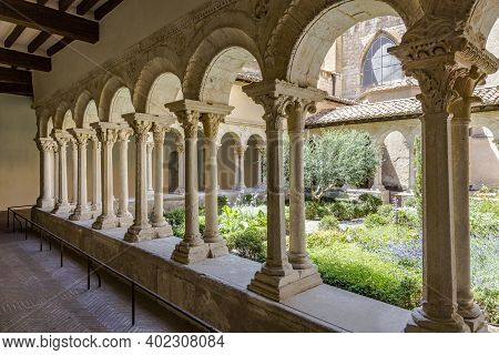 Aix En Provence, France - July 8, 2015: Cathedral Cloister With Garden In Aix-en-provence, France.