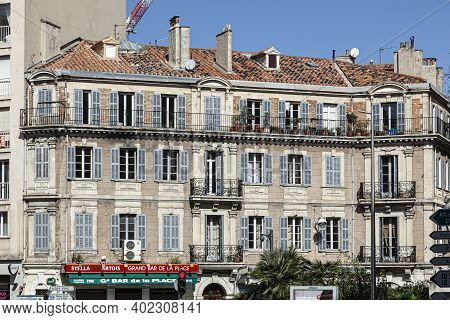 Marseille, France - April 1, 2015: Old Building With Restaurant At The Corniche In Marseille, The Pr