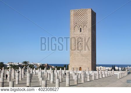 Rabat, Morocco - November 11, 2016: Hassan Tower, The Minaret Of An Incomplete Mosque In Rabat, Moro